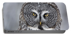 Great Gray Owl Scowl Minnesota Portable Battery Charger