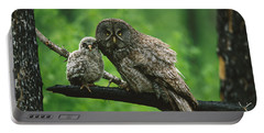 Great Gray Owl With Chick Saskatchewan Portable Battery Charger