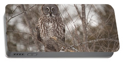 Great Grey Owl Portable Battery Charger by Eunice Gibb