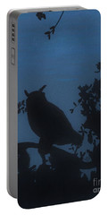 Portable Battery Charger featuring the drawing Owl At Night by D Hackett
