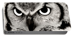 Great Horned Owl In Black And White Portable Battery Charger