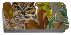 Portable Battery Charger featuring the photograph Great Horned Owl by Meghan at FireBonnet Art
