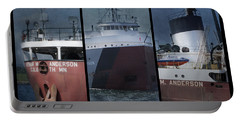 Great Lakes Freighter Triptych Arthur M Anderson Portable Battery Charger