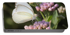 Great Southern White Butterfly On Pink Flowers Portable Battery Charger