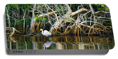Great White Egret And Reflection In Swamp Mangroves Portable Battery Charger
