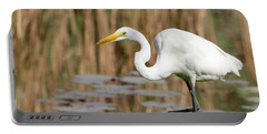 Great White Egret By The River Portable Battery Charger