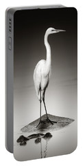 Great White Egret On Hippo Portable Battery Charger by Johan Swanepoel