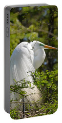 Great White Egret On Nest Portable Battery Charger by Judith Morris