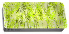 Green Abstract Art Portable Battery Charger by Lourry Legarde