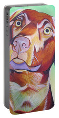 Portable Battery Charger featuring the painting Green And Brown Dog by Joshua Morton