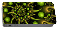 Portable Battery Charger featuring the digital art Green And Gold by Gabiw Art