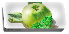 Portable Battery Charger featuring the painting Green Apple And Mint Happy Union by Irina Sztukowski