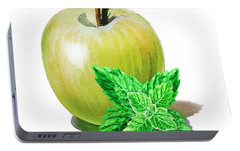 Portable Battery Charger featuring the painting Green Apple And Mint by Irina Sztukowski