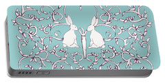 Portable Battery Charger featuring the drawing Green Blue Rabbits Leaves by Donna Huntriss