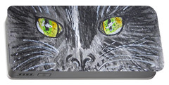 Green Eyes Black Cat Portable Battery Charger