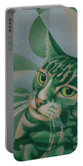 Green Feline Geometry Portable Battery Charger by Pamela Clements