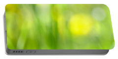 Green Grass With Yellow Flowers Abstract Portable Battery Charger