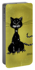 Green Grunge Evil Black Cat Portable Battery Charger