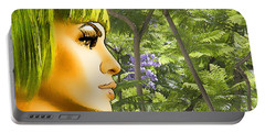 Green Hair And Jacaranda  Portable Battery Charger