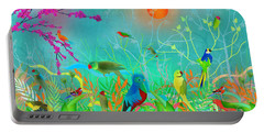 Green Landscape With Parrots - Limited Edition Of 15 Portable Battery Charger