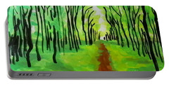 Portable Battery Charger featuring the painting Green Leaves by Marisela Mungia