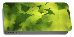 Green Maple Leaves Portable Battery Charger