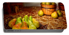 Green Pears In Rustic Basket Portable Battery Charger