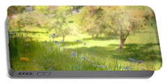 Portable Battery Charger featuring the photograph Green Spring Meadow With Flowers by Brooke T Ryan