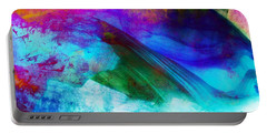 Portable Battery Charger featuring the painting Green Wave - Vibrant Artwork by Lilia D