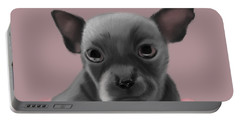 Grey Chihuahua In The Pink Portable Battery Charger