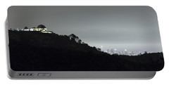 Griffith Park Observatory And Los Angeles Skyline At Night Portable Battery Charger