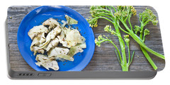 Grilled Artichoke And Brocolli Portable Battery Charger by Tom Gowanlock