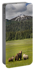 Grizzly Bear Mother And Cubs In Meadow Portable Battery Charger