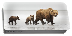 Grizzly Bear Mother And Cubs Lake Clark Portable Battery Charger