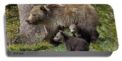 Grizzly Bear With Cubs Portable Battery Charger