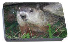 Groundhog Hiding In His Cave Portable Battery Charger by John Telfer