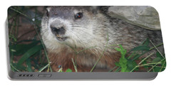 Groundhog Hiding In His Cave Portable Battery Charger