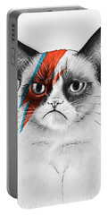 Grumpy Cat As David Bowie Portable Battery Charger by Olga Shvartsur