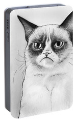 Grumpy Cat Portrait Portable Battery Charger by Olga Shvartsur