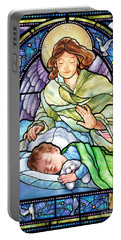 Portable Battery Charger featuring the digital art Guardian Angel With Sleeping Boy by Randy Wollenmann