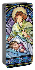 Portable Battery Charger featuring the digital art Guardian Angel With Sleeping Girl by Randy Wollenmann
