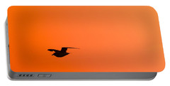 Gull At Sunset Portable Battery Charger