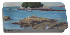 Gulls At Five Islands - Art By Bill Tomsa Portable Battery Charger