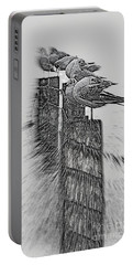 Gulls In Pencil Effect Portable Battery Charger by Linsey Williams