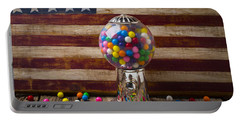 Gumball Machine And Old Wooden Flag Portable Battery Charger