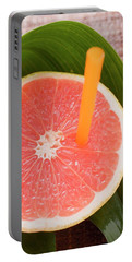 Half A Pink Grapefruit With A Straw Portable Battery Charger