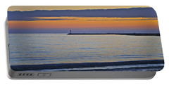 Half Moon Bay Under The Moon At Sunset Portable Battery Charger