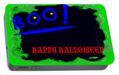 Portable Battery Charger featuring the digital art Halloween Boo by Christopher Rowlands