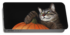 Portable Battery Charger featuring the painting Halloween Cat by Anastasiya Malakhova