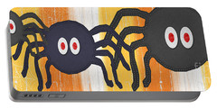 Halloween Spiders Sign Portable Battery Charger by Linda Woods